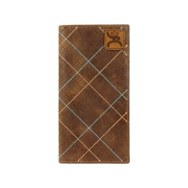 """HOOey Western Wallet Mens Roughy Signature Rodeo Patch Brown - 3 1/2"""" x 3/4"""" x 7"""""""