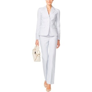 Le Suit Womens Pant Suit Twill Pleated