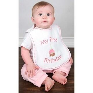 "Raindrops Baby Girls ""My First Birthday"" Embroidered Bib, Strawberry - One size"