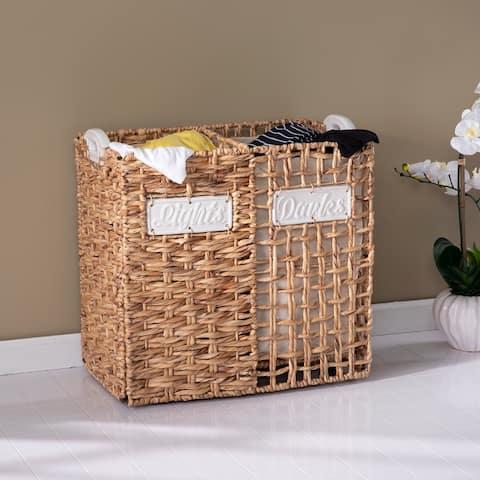 The Gray Barn Leeland Coastal Natural Woven Fiber Laundry Hamper Set