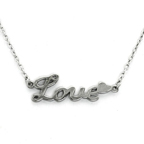 Stainless Steel Inspirational - LOVE - Necklace - 16 inches