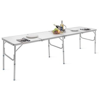Link to Costway 8FT Aluminum Folding Picnic Camping Table Lightweight Similar Items in Table Games