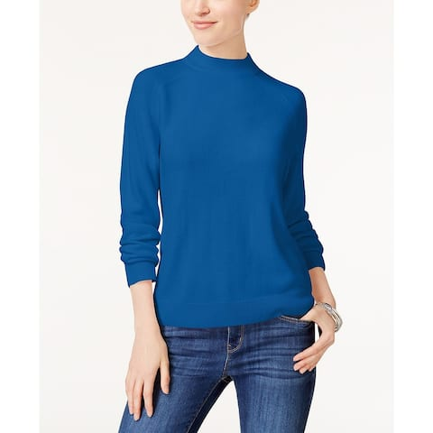Karen Scott Women's Petite Luxsoft Zip-Back Mock-Neck Sweater Blue Size P/P