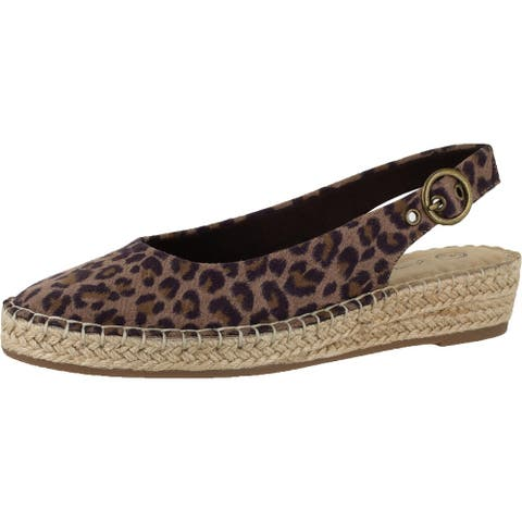 Bella Vita Womens Olive II Espadrilles Animal Print Slingback - Leopard