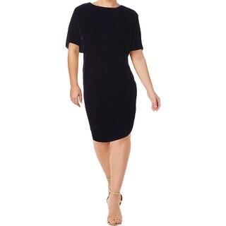 Lauren Ralph Lauren Womens Plus Keaira Casual Dress Velvet Knee-Length