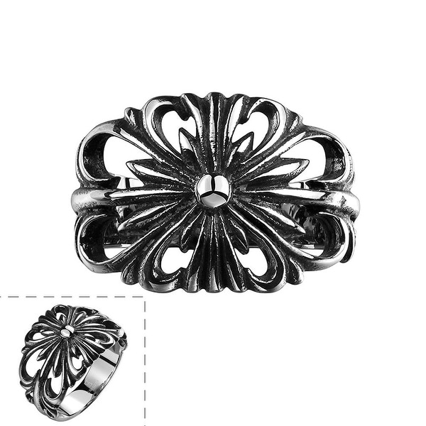 Vienna Jewelry Stainless Steel Hollow Rose Petals Ring