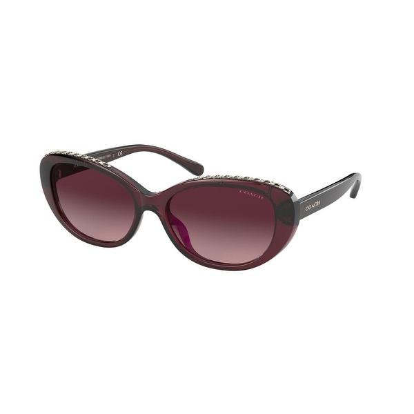 Coach HC8296U 56158H 56 Burgundy Woman Oval Sunglasses. Opens flyout.