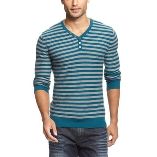 INC International Concepts Mens Green and Gray Striped Henley Sweater - 2XL