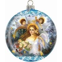 Holiday Splendor Glass Christmas Angel 5.5 in. - Glass Ornament