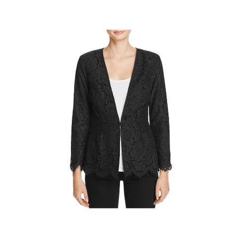 Cupcakes and Cashmere Womens One-Button Blazer Lace Scalloped