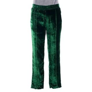Haider Ackermann Womens Green Velvet Tapered Leg Track Pants