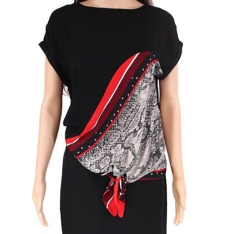 Mint Velvet Women's Blouse Black Size 8 Printed Side-Tie Cuffed