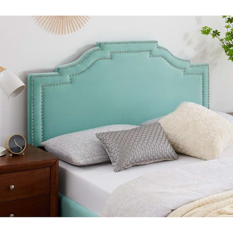 Paradise Light Green Velvet Upholstered Twin Size Headboard with Nailhead Trim