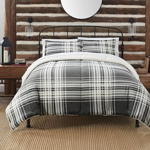 Serta Cozy Plush Plaid 3 Piece Comforter Set