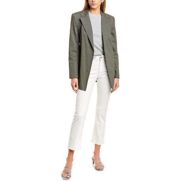 Theory Belted Linen-Blend Blazer. Opens flyout.