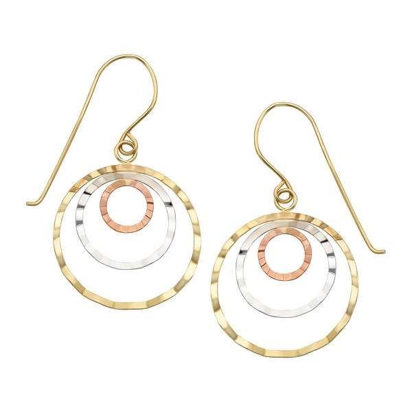 Eternity Gold Concentric Hoop Earrings in 14K Three-Tone Gold