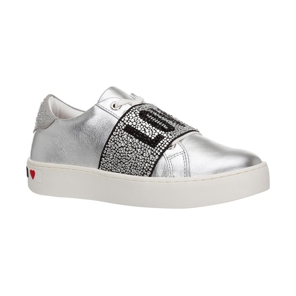 Love Moschino Women's Metallic Leather Crystal Band Sneakers Silver. Opens flyout.