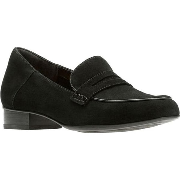 cce9821648f Clarks Women  x27 s Keesha Cora Penny Loafer Black Suede Polyurethane