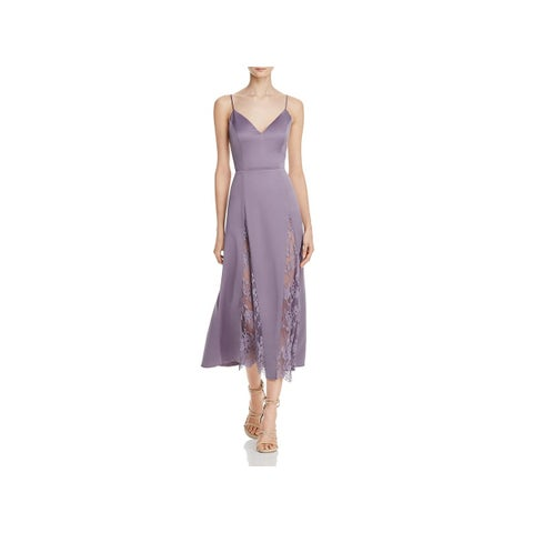NBD Womens Moon Slip Dress Satin Lace Inset