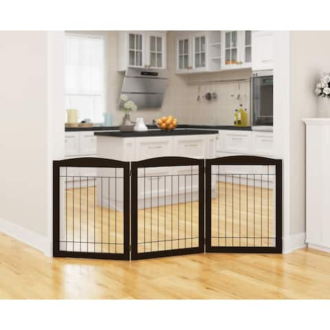 PAWLAND-3 Panels,30 Inch,Dog Gate, Freestanding Foldable Wire Pet Gate, Safety Gate Fence