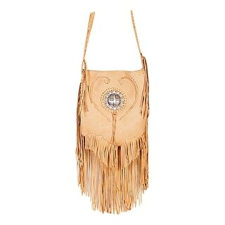 Scully Western Handbag Womens Leather Fringe Concho Flap Honey B93 - One size