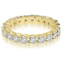 14K Yellow Gold 2.00 ct.tw Round Cut Shared Prong Diamond Eternity Wedding Band HI, SI1-2