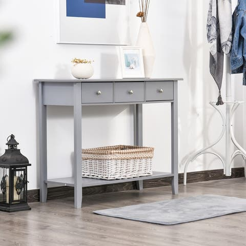 HOMCOM Console Table Industrial Desk with Drawer Bottom Shelf & Large Tabletop for Pictures, Great for the Entryway