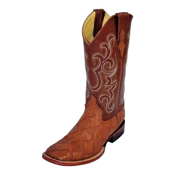 Ferrini Western Boots Mens Ostrich Patchwork Cognac Cream