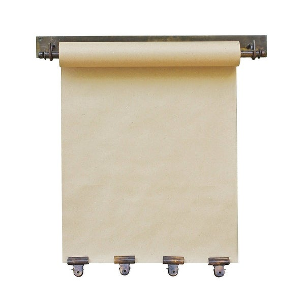 "KALALOU Hanging Memo Roll Note Paper Holder - With Four Clips in Antique Brass, 21"" Wide, Uses 16"" Memo Craft Paper"