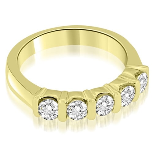 0.50 cttw. 14K Yellow Gold Classic Bar Set Round Diamond Wedding Band