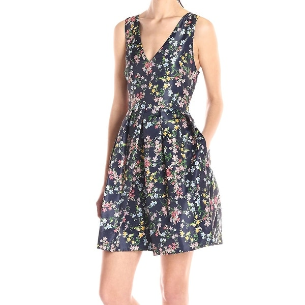 dc690303071 Shop Erin Erin Fetherston Blue Womens Size 4 A-Line Floral Pleated ...