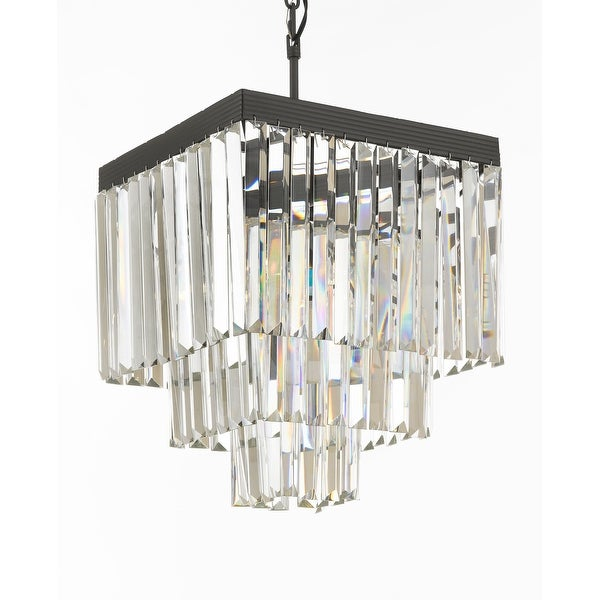 Retro Odeon Crystal Glass Fringe 3 Tier Chandelier