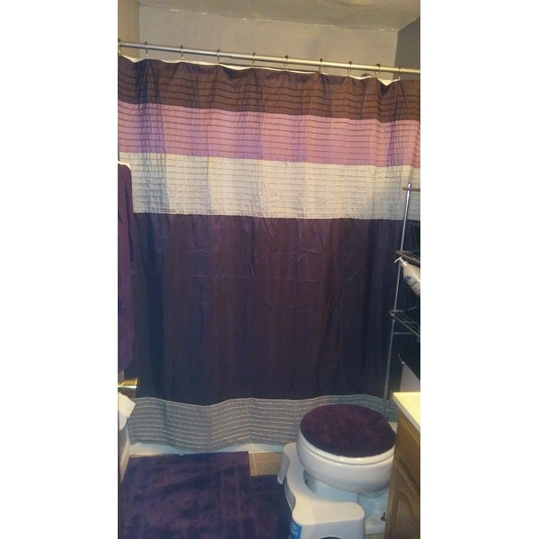 Shop Clay Alder Home Niantic Purple Strip Faux Silk Shower Curtain