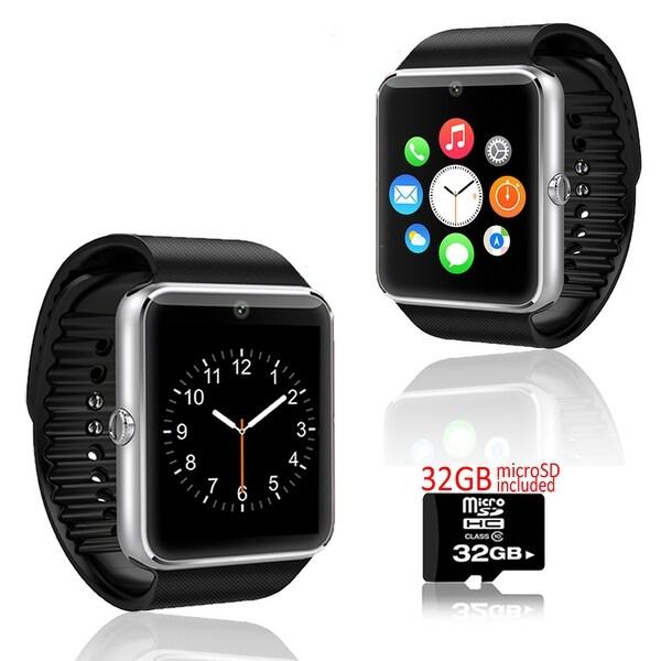 Indigi® GT8 Bluetooth SmartWatch and Phone w/ Pedometer + Sleep Monitor + Camera + Sedentary Reminder w/ 32gb microSD - Silver