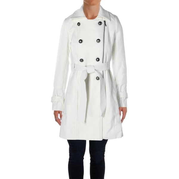 5fa50ba3 Shop XOXO Womens Trench Coat Faux Leather Panel Double Breasted ...