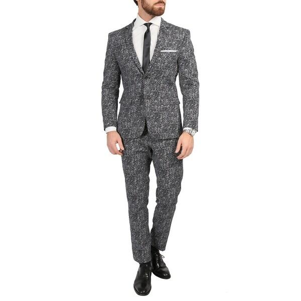 Ferrecci Mens Chicago Slim Fit Black & White Spotted Notch Lapel Suit