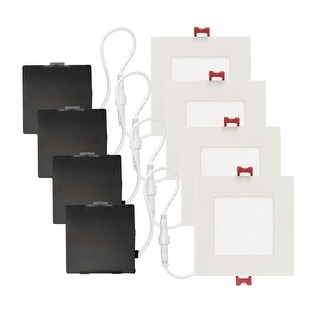 """Globe Electric 91225 Set of 4 Ultra Slim 4"""" Integrated LED Recessed Lighting - D - White"""