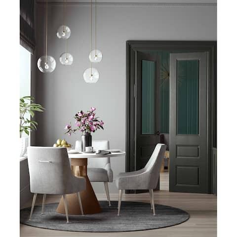 Carson Carrington Tasback Pleated Light Grey Velvet Side Chair