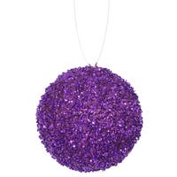 "3ct Purple Majesty Sequin and Glitter Drenched Christmas Ball Ornaments 4.75"" (120mm)"