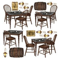 """Club Pack of 180 Western Saloon Table Wall Decorations 39"""" - brown"""