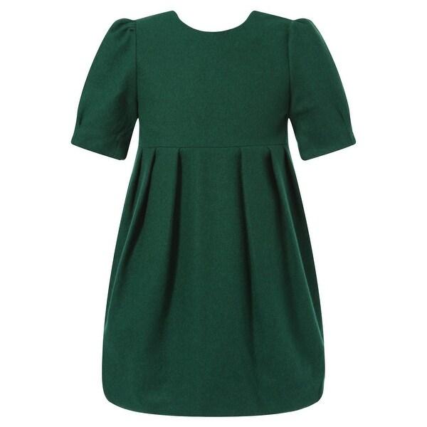 Richie House Baby Girls Dark Green Pleat Details Elegant Dress 24M