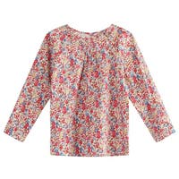 Richie House Girls' Floral Print Dress with Long Sleeve