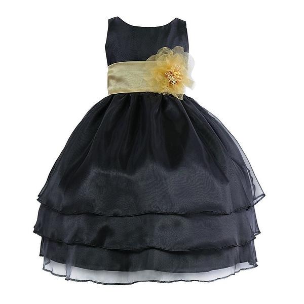 d0d36ba899f Shop Little Girls Black Yellow Floral Sash Flower Girl Dress 2T-6 - Free  Shipping Today - Overstock - 18172149
