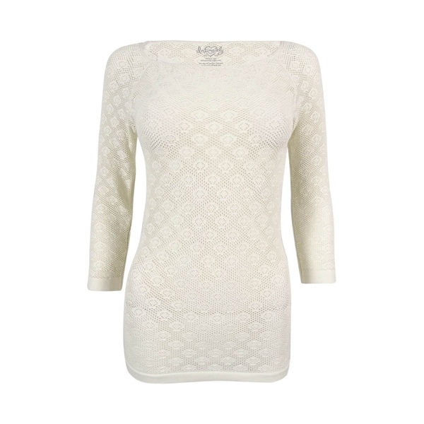 Free People Womens 34 Sleeve Open Knit Top Ivory Ml Free