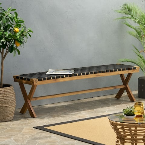 """Mallett Outdoor Acacia Wood Bench with Rope Seating by Christopher Knight Home - 61.00"""" W x 13.75"""" D x 16.25"""" H"""