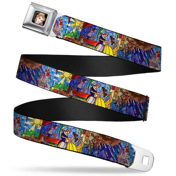 Belle Close Up Full Color Beauty & The Beast Stained Glass Scenes Webbing Seatbelt Belt - XS