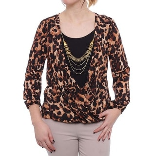 Thalia Sodi Animal-Print Necklace-Trim Surplice Blouse Women Regular Blouse