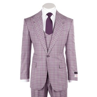 Tiglio Rosso Luca Violet with Purple and White Plaid Wide Leg, Pure Wool Suit & Vest T96307/87/3