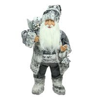 "24"" Alpine Chic Standing Santa Claus in Gray and White with a Bag and Lantern Christmas Figure"