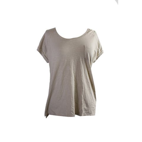 Style & Co. Beige Short-Sleeve Crew Neck Pocket T-Shirt L